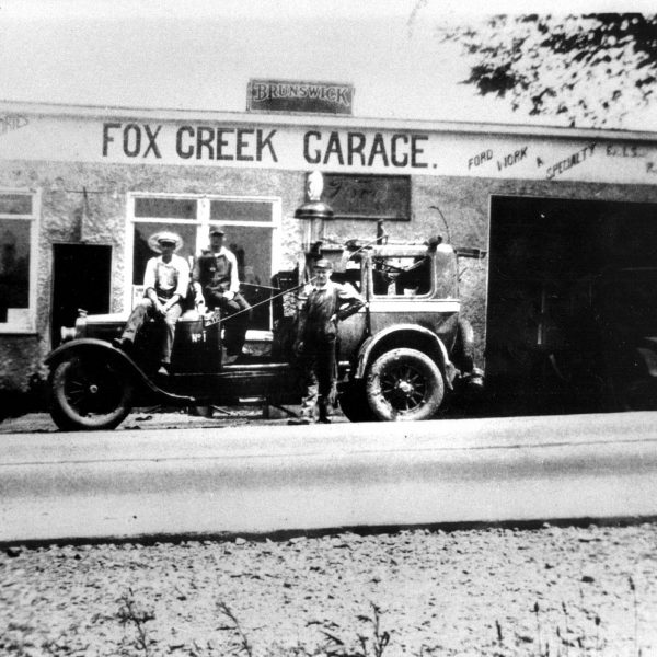Wildwood Historical Society - Fox Creek Garage - Ed Schott's Pontiac Dealership started in 1926, man on right Bill Krueger.