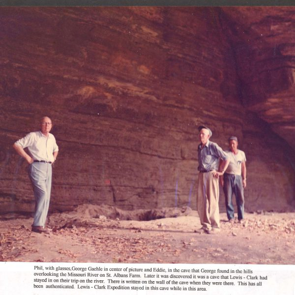 Wildwood Historical Society - Tavern Cave 1960s - Cave located on St. Alban's Farm overlooking the Missouri River that was later discover to be a former camp site of Lewis and Clark